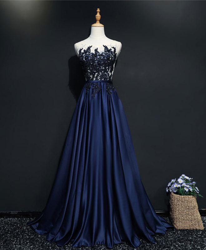 Dark blue satin beading long prom dress, dark blue evening dress