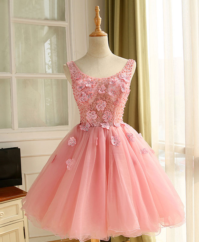 Cute A line pink tulle pearl short prom dress, homecoming dress