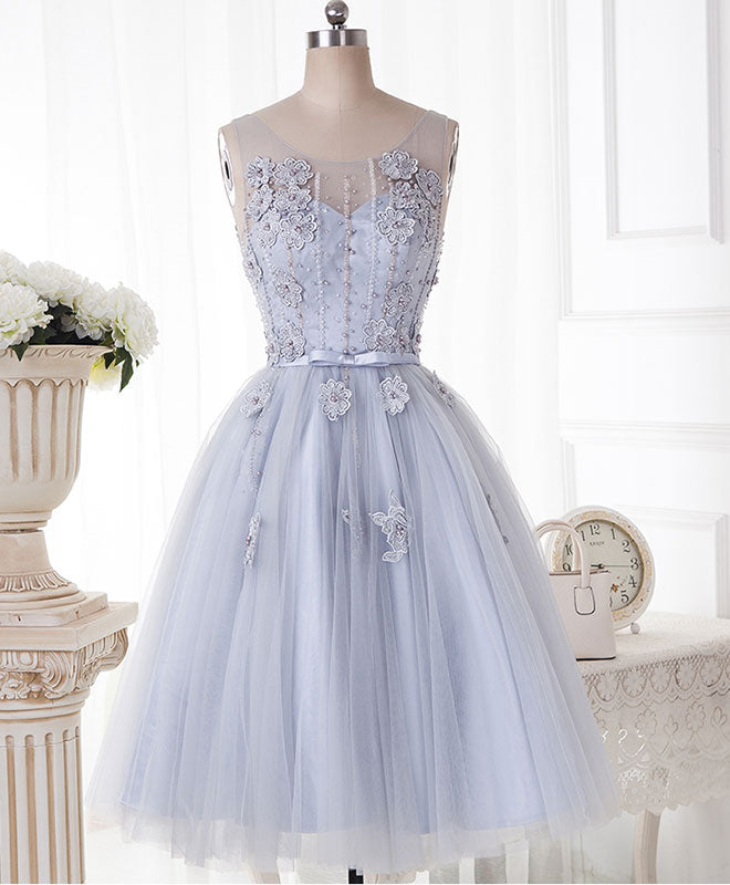Cute gray round neck  lace tulle short prom dress, homecoming dress