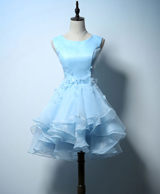 Cute blue A line short prom dress, blue evening dress