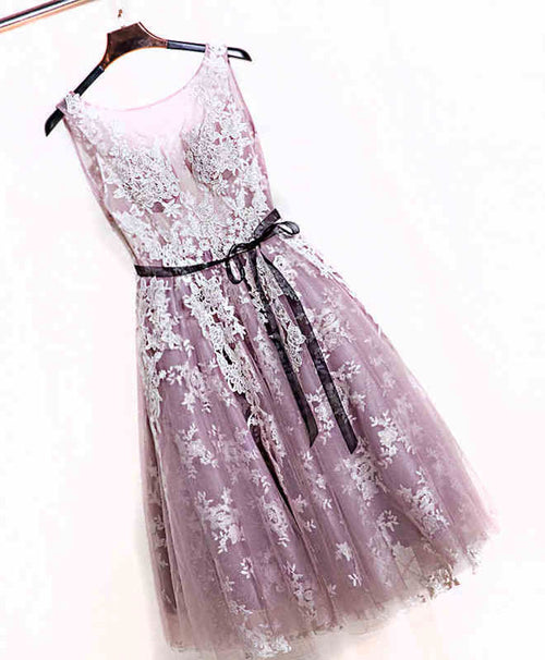 Cute pink lace short prom dress, pink evening dress