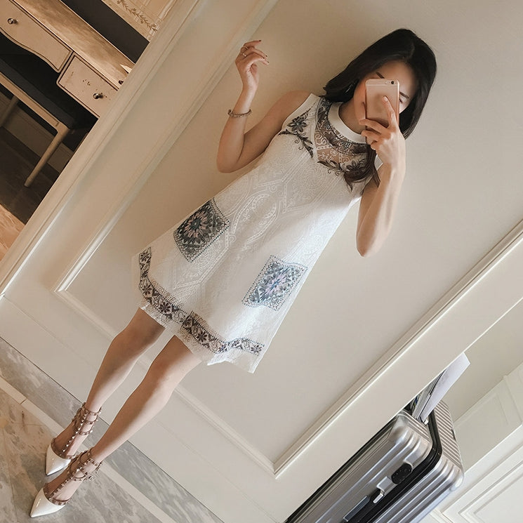 Lovely white lace short dress, summer dress, party dress