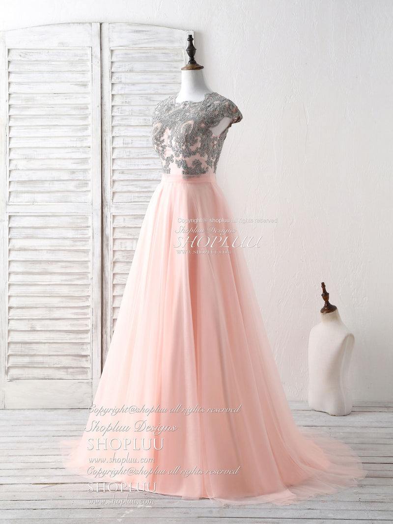 Elegant tulle lace applique long prom dress tulle evening dress
