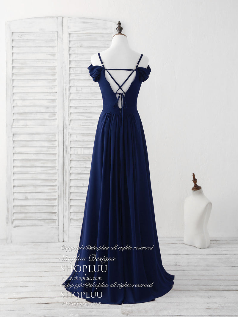 Blue lace chiffon long prom dress blue bridesmaid dress