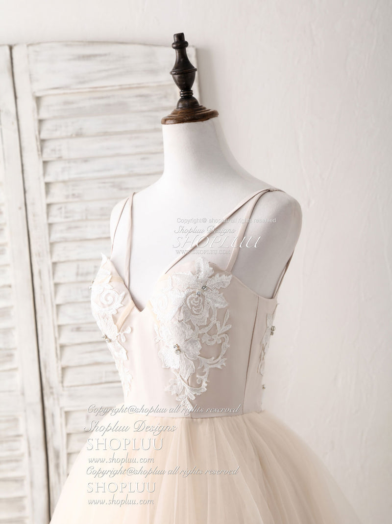 Champagne v neck tulle lace applique long prom dress sweet 16 dress