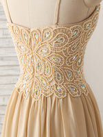 Champagne sweetheart neck beads long prom dress evening dress