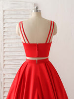 Red two pieces satin long prom dress simple red evening dress