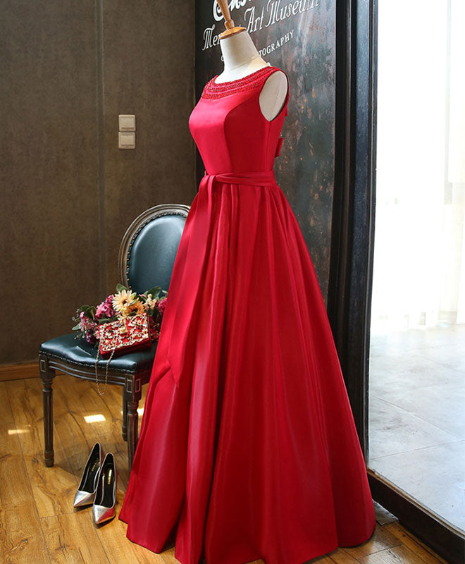 Red A line satin beading long prom dress, red evening dress
