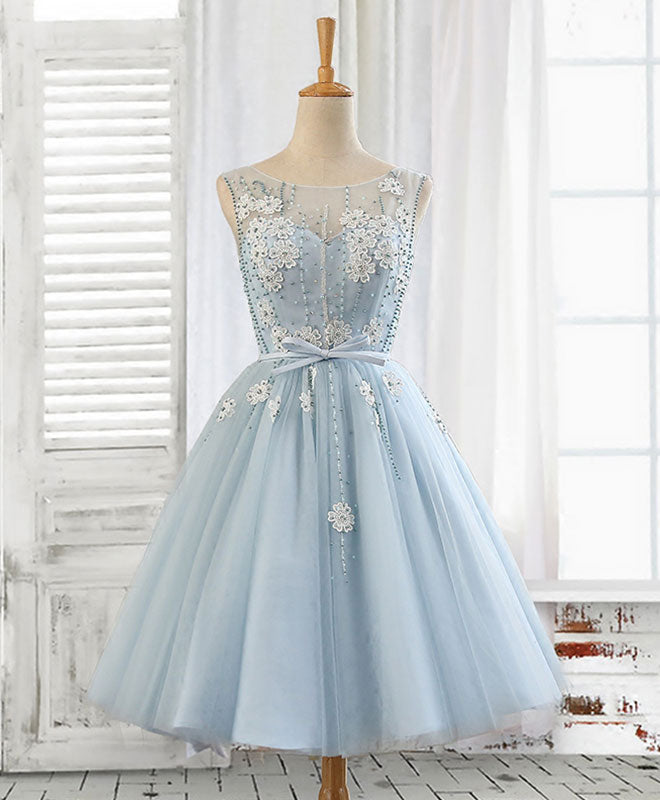 bc23f85002f3 Cute A line light blue lace tulle short prom dress, homecoming dress