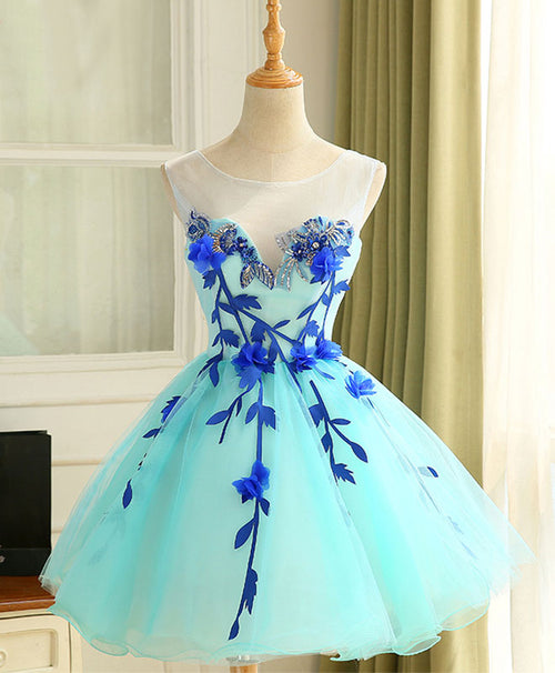 Cute A line light green tulle short prom dress, homecoming dress