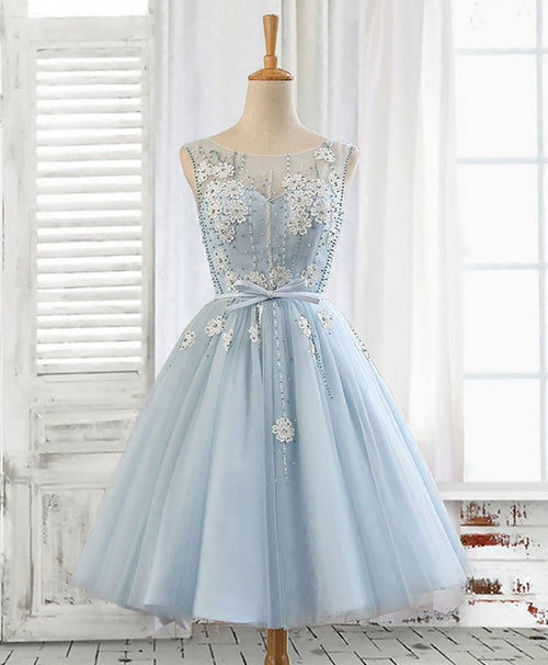 Cute A line light blue lace tulle short prom dress, homecoming dress
