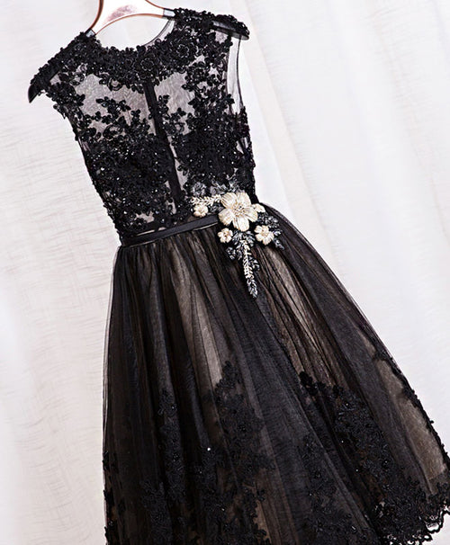 Cute black lace short prom dress, black evening dress