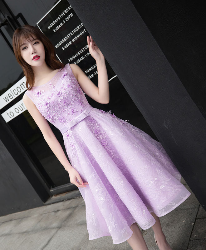Light purple lace A line short prom dress, evening dress