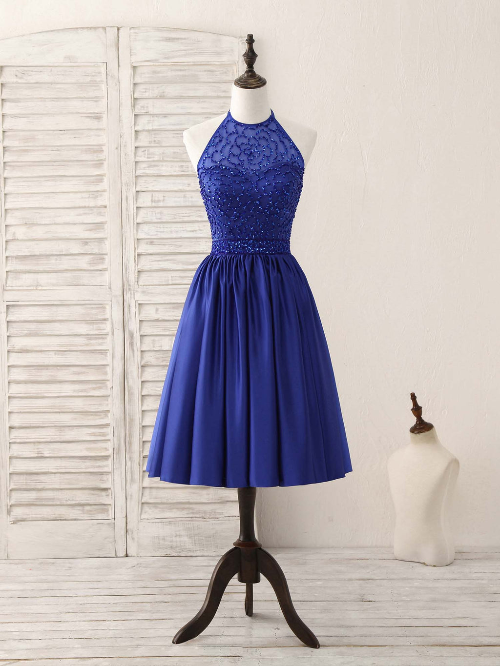 Royal blue satin beads short prom dress blue homecoming dress