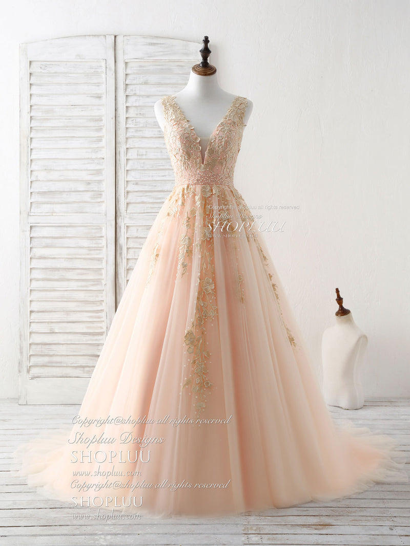 Unique v neck tulle lace applique long prom dress, evening dress
