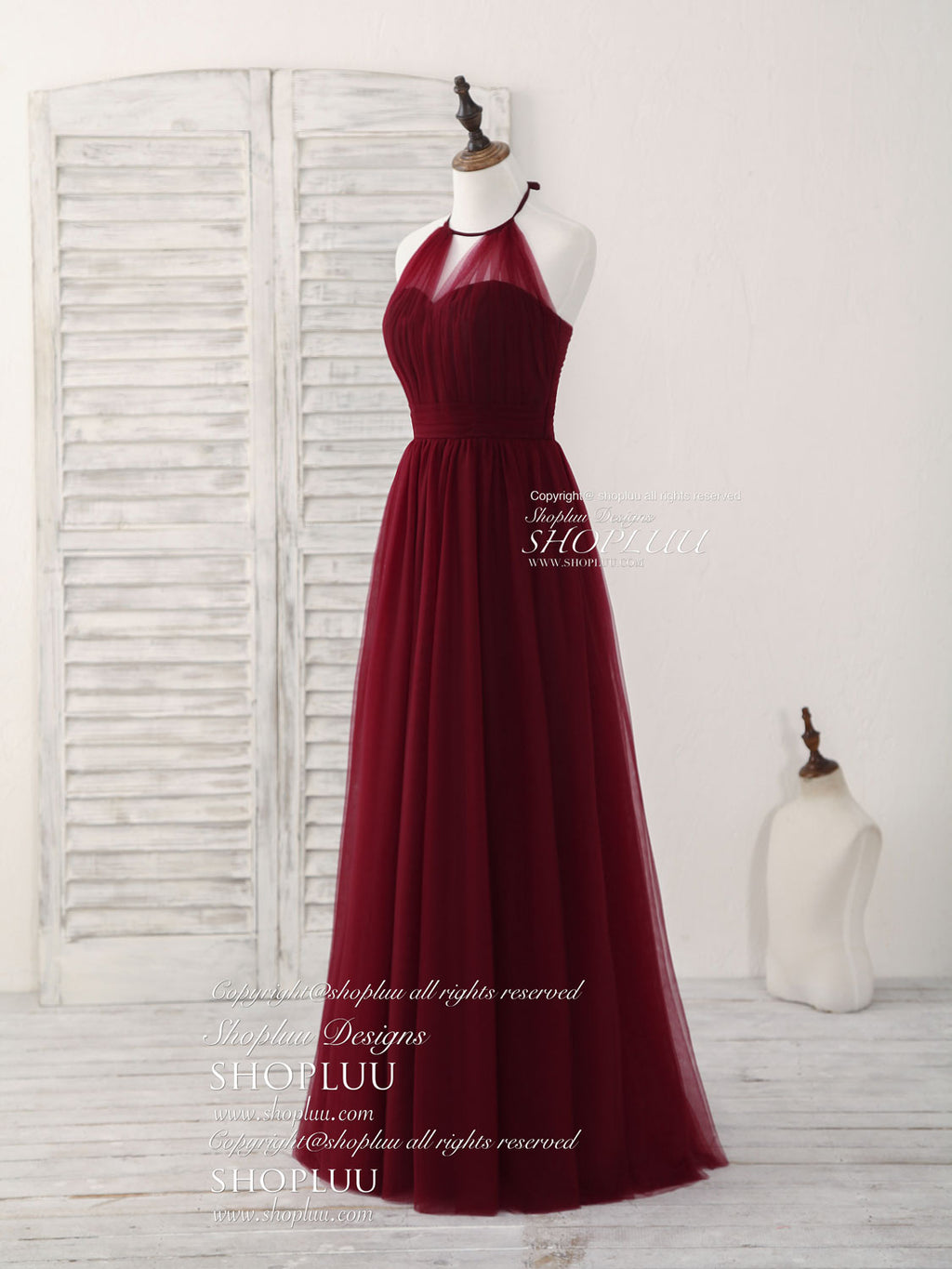 Simple burgundy tulle long prom dress, burgundy bridesmaid dress