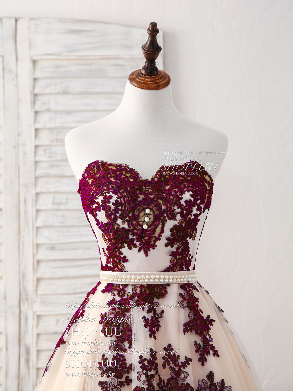 Burgundy sweetheart tulle long prom dress, burgundy evening dress