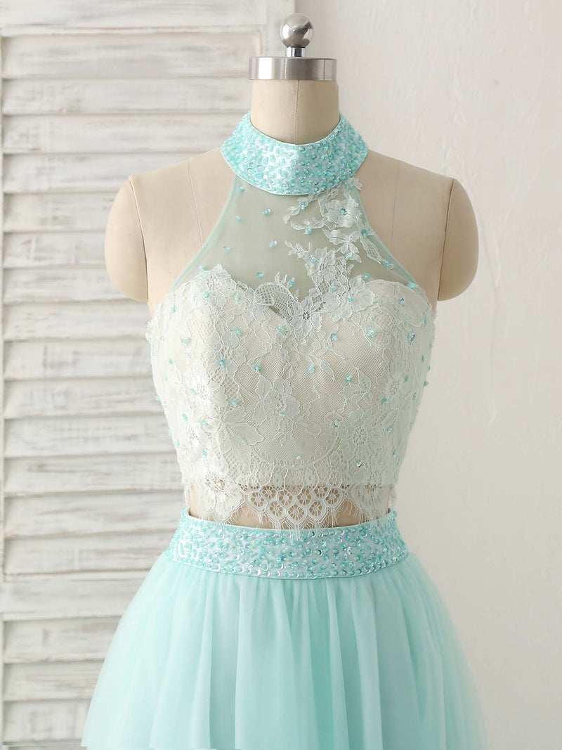 Green tulle two pieces long prom dress lace beads formal dress