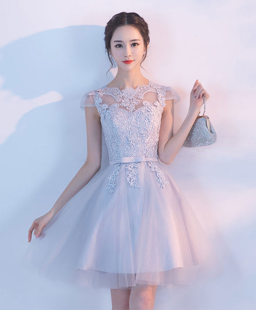 Gray A line tulle lace short prom dress, homecoming dress