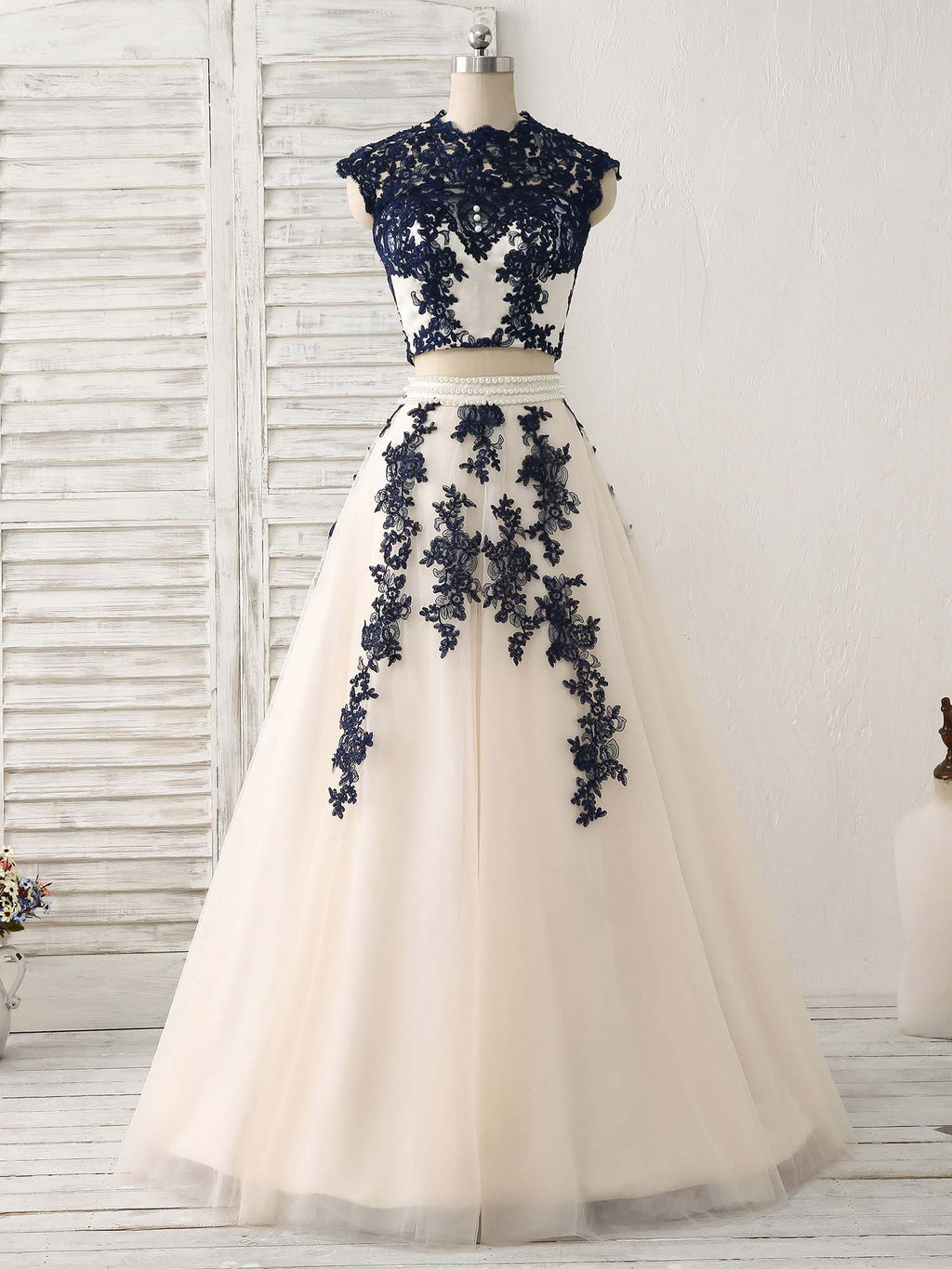 Dark blue two pieces lace tulle long prom dress blue evening dress