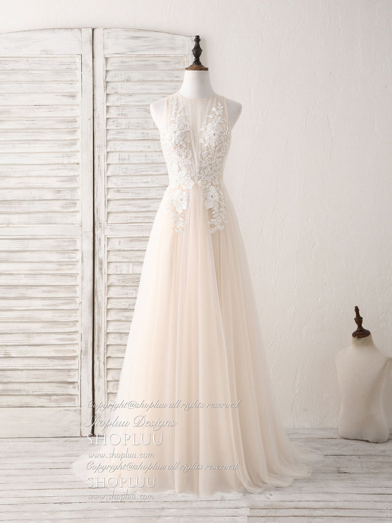 Champagne round neck tulle lace applique long prom dress