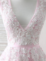 Pink v neck tulle lace applique long prom dress pink evening dress