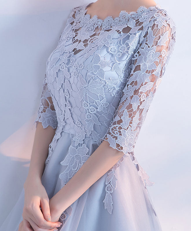 Gray lace tulle high low prom dress, lace evening dress