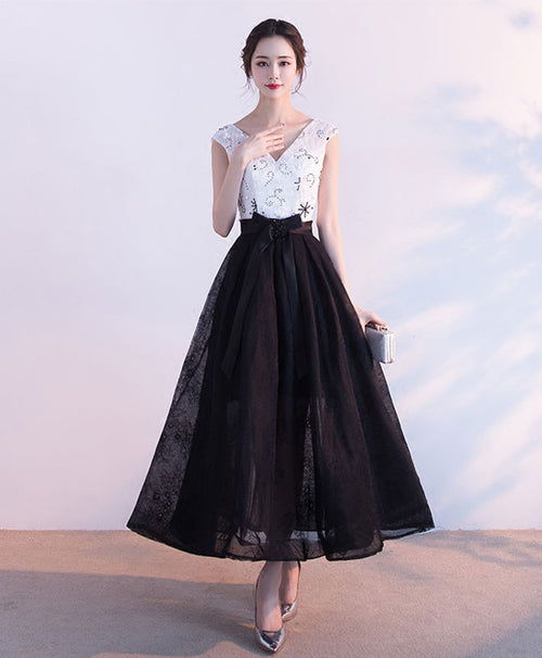 Black v neck lace tulle short prom dress, black evening dress