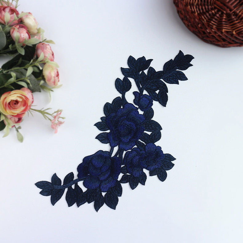 Dark blue lace applique, burgundy DIY lace applique