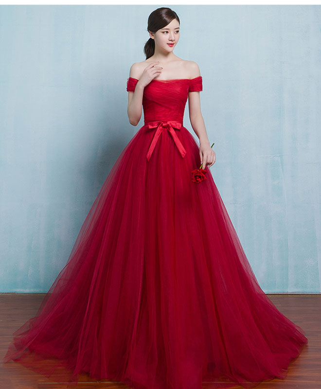Red A line tulle long prom gown, cheap evening dress