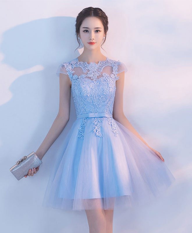 Light blue A line tulle lace short prom dress, homecoming dress ...