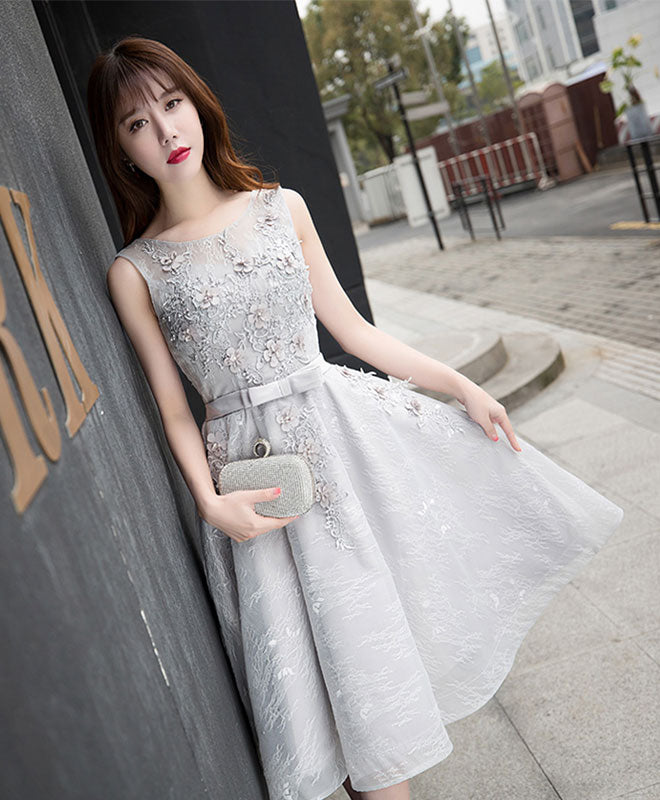 Gray lace A line short prom dress, gray evening dress