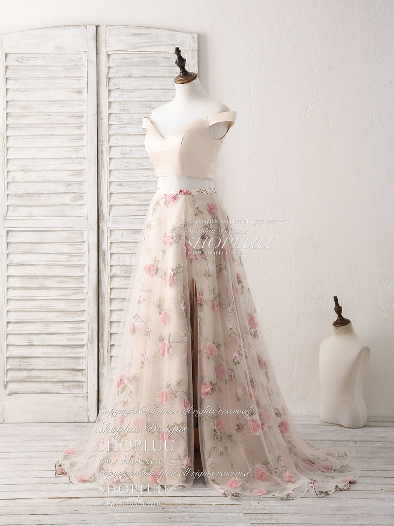 Unique champagne two pieces long prom dress, champagne evening dress