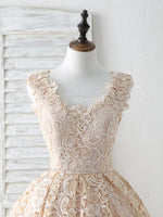Champagne v neck lace short prom dress champagne bridesmaid dress