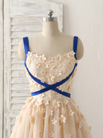 Champagne tulle applique short prom dress, bridesmaid dress