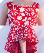 Red high low short prom dress, champagne evening dress