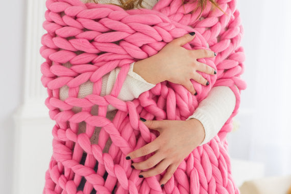 Super pink chunky knit blanket knitted blanket, chunky blanket, knit throw, bulky gift