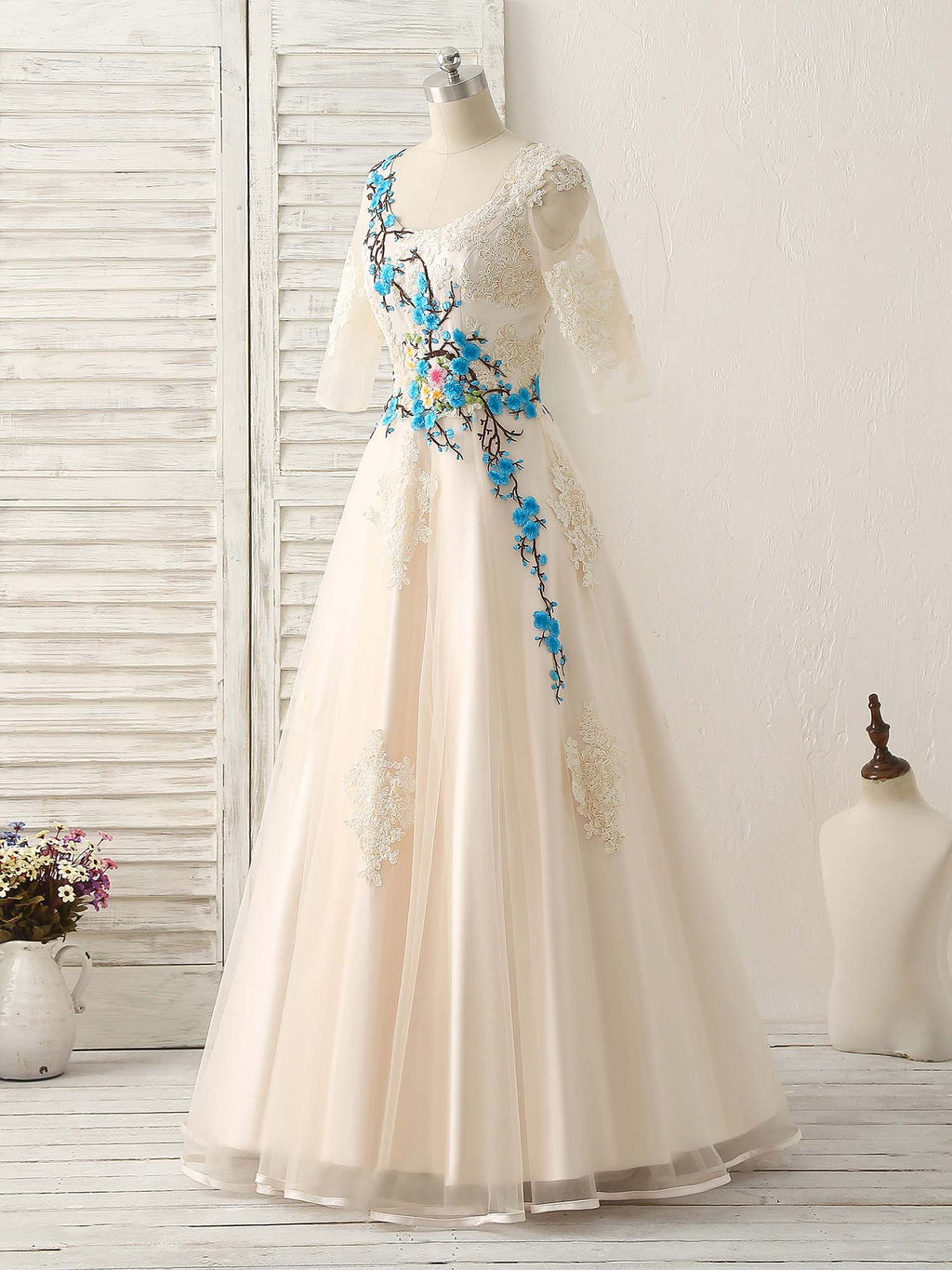 Unique lace applique tulle long prom dress light champagne bridesmaid dress