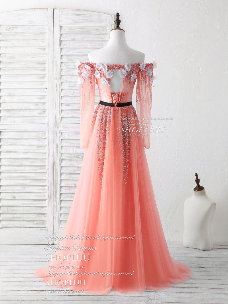 Pink tulle beads long prom dress green beads evening dress