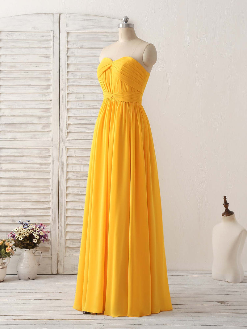 Simple chiffon yellow long prom dress simple bridesmaid dress