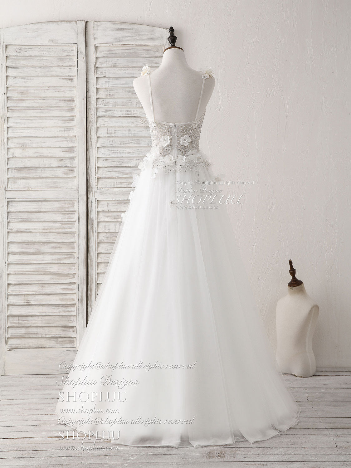 White v neck tulle beads long prom dress white evening dress