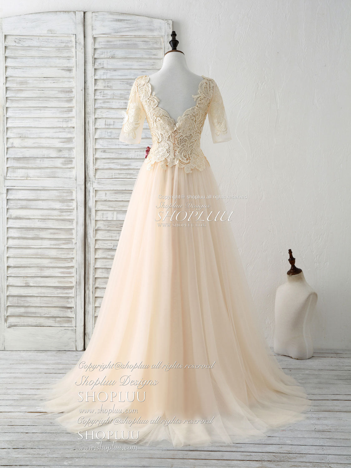 Unique champagne lace applique tulle long prom dress, evening dress
