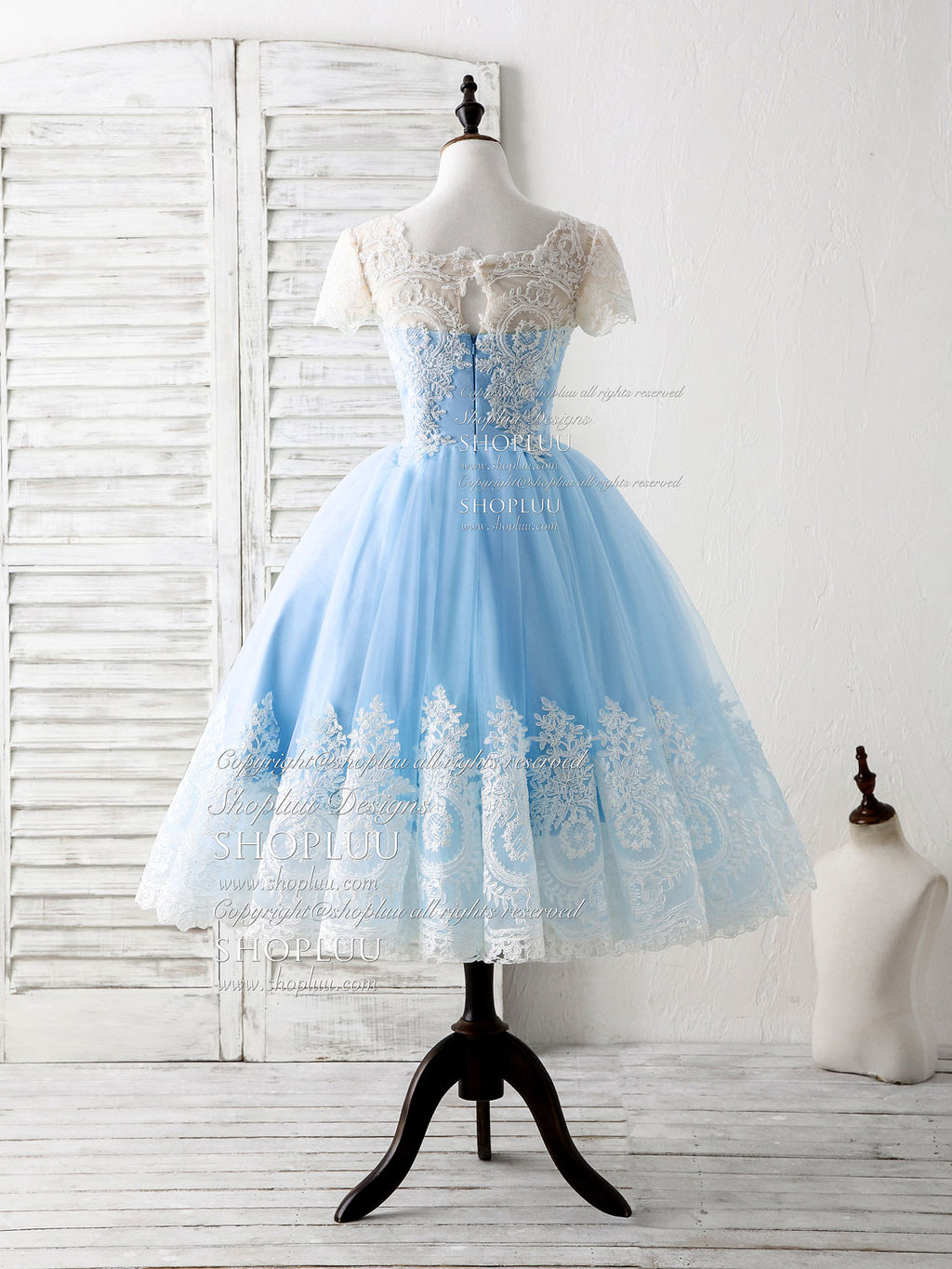 Blue tulle lace short prom dress blue bridesmaid dress