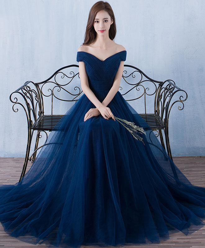 Blue v neck tulle A line long prom dress, cheap evening dress