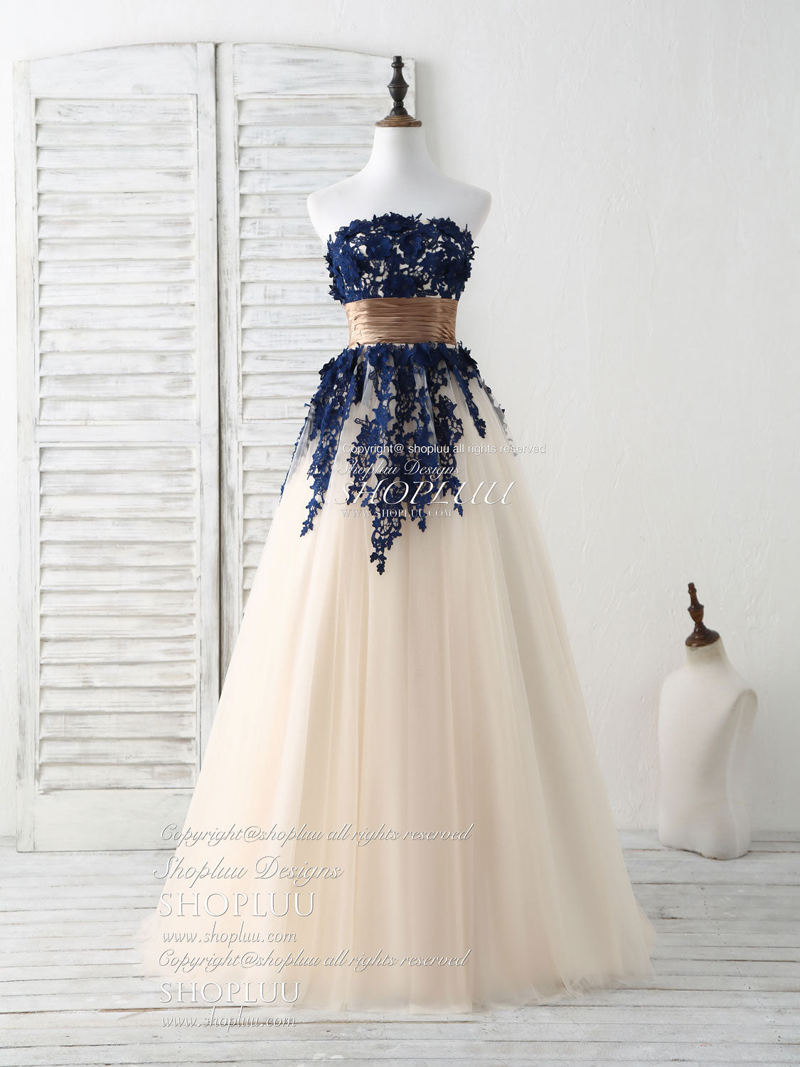 da9a551e4383c Dark blue lace applique tulle long prom dress blue bridesmaid dress