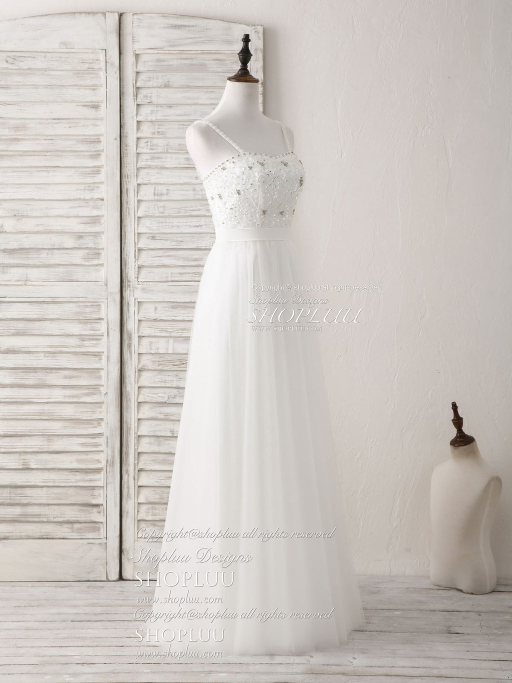 White sweetheart neck tulle beads long prom dress white evening dress