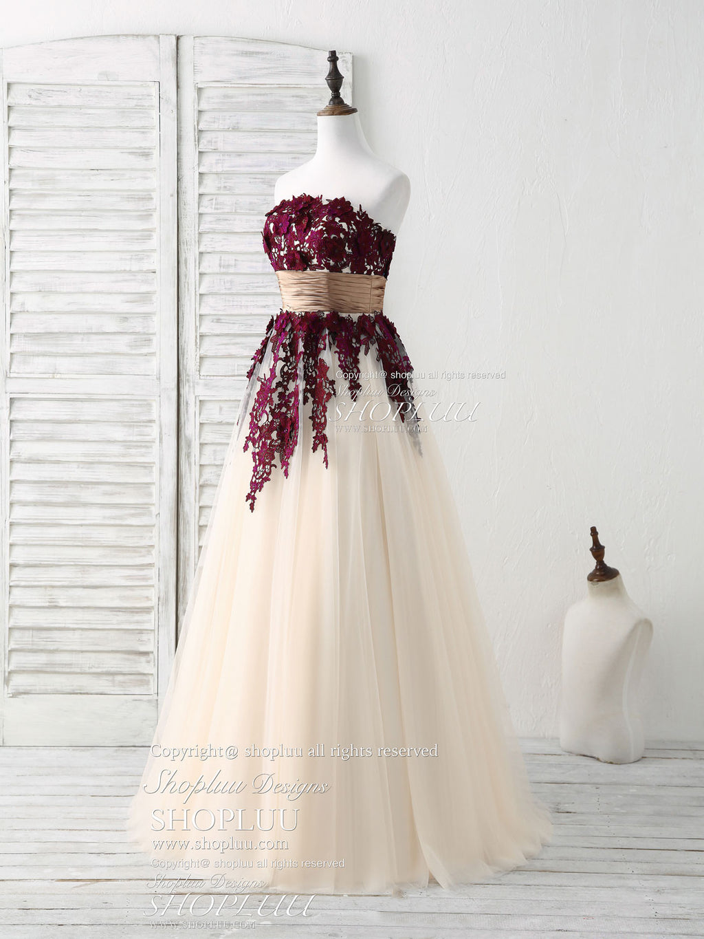 Burgundy lace applique tulle long prom dress burgundy bridesmaid dress