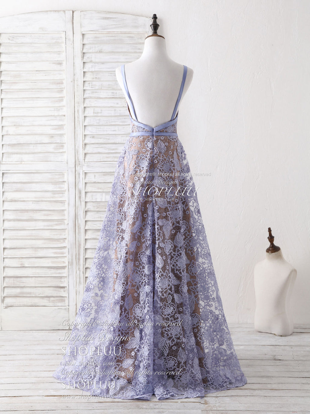 Unique v neck lace long prom dress purple lace evening dress