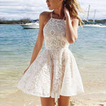 White cute lace short summer dress, lace women fashion dress