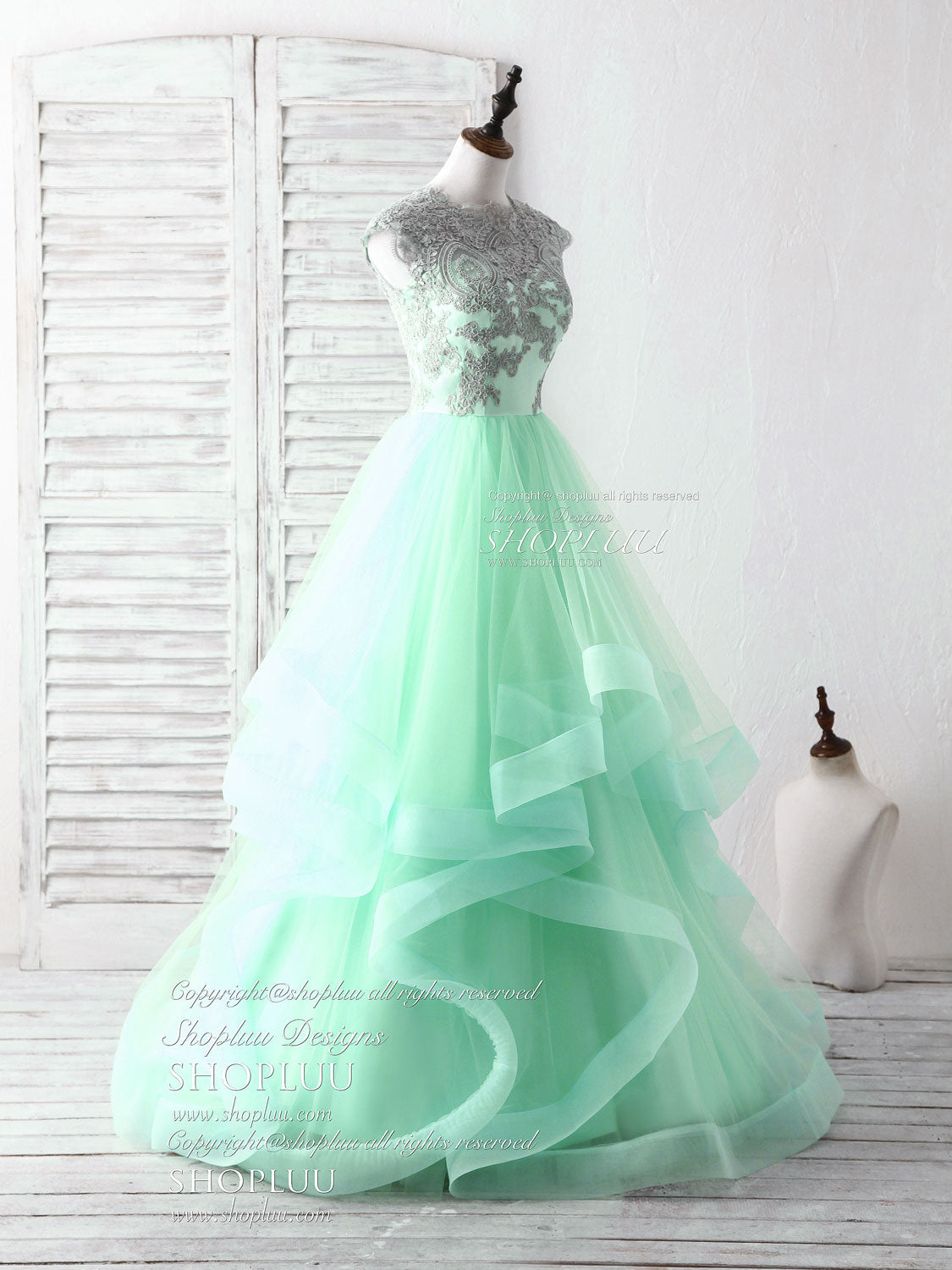 Green tulle lace applique long prom dress blue tulle sweet 16 dress